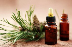 bottle of fir tree essential oil - beauty treatment
